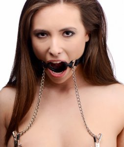 MASTER SERIES MUTINY O-RING GAG W/ NIPPLE CLAMPS