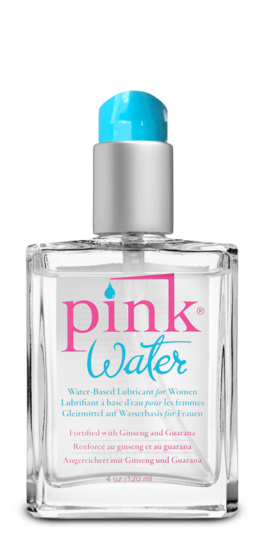 PINK WATER 4 OZ GLASS BOTTLE W/ PUMP